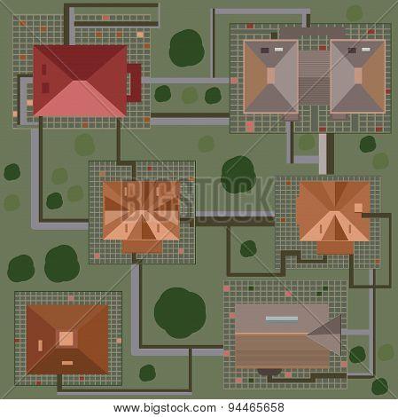 Set rooftops isometric illustrator