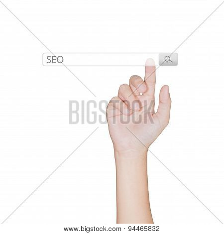 Finger Click On Search Toolbar Browser Isolated White Background