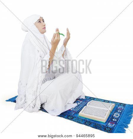 Muslim Worshiper Praying On The God