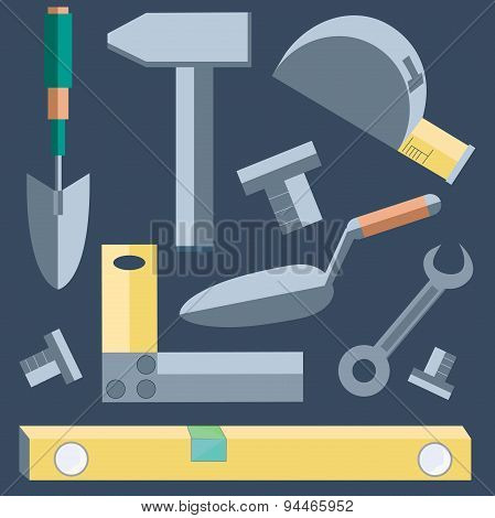 Tools shovel, level, putty knife, wrench, hammer, tape, measure