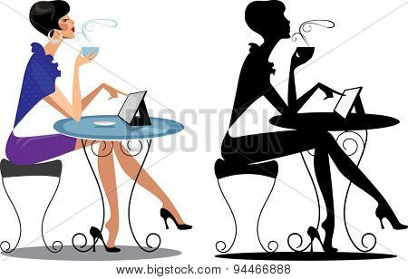 fashion woman at table with tablet, and her silhouette