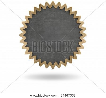 Black blank cogwheel shape blackboard with wooden frame