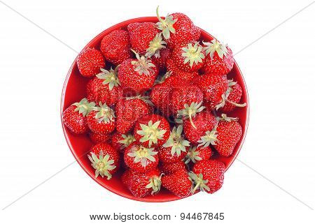 Strawberries In A Bowl, Top View, Isolated On White Background