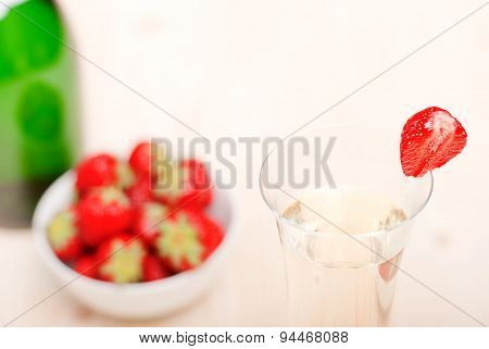 A Glass Of Champagne With Strawberries, Close-up