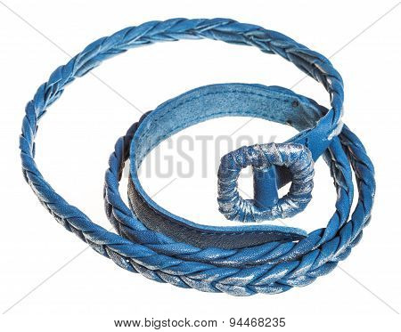 Coiled Blue Braided Leather Belt Isolated On White