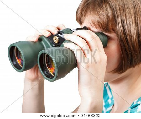 Girl Watching Through Binoculars Isolated On White