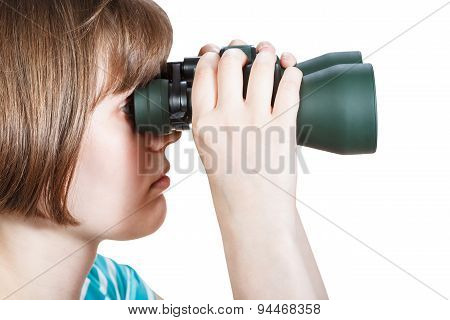 Side View Of Girl Looks Through Binoculars