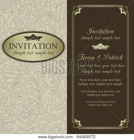 Baroque wedding invitation, beige, brown and gold