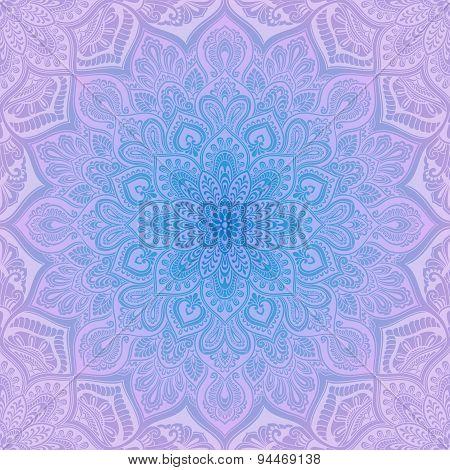 Mandala geometric pattern, blue and lilac