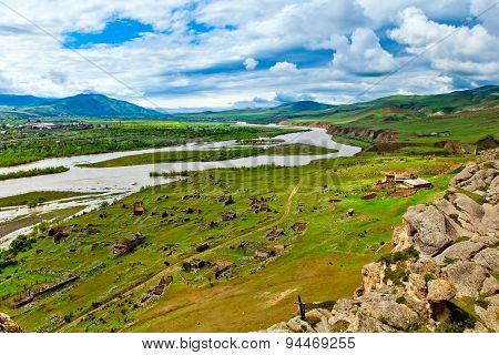 Panorama View Of  Ancient Rock Town Uplistsikhe