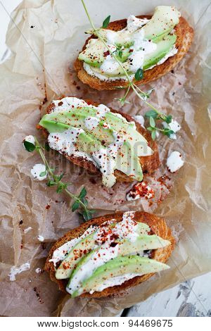 Avocado toast with cream cheese and chili