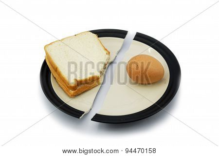Sandwich Bread And Egg On A Broken Plate For Diet Concept.