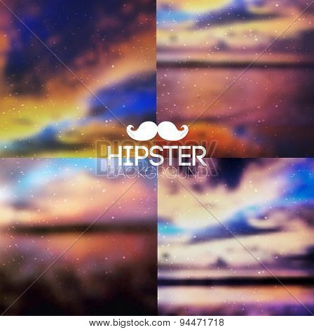 Hipster background set