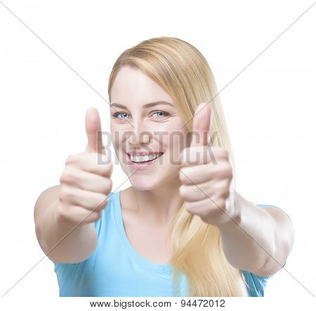 Blonde Showing Thumbs Up.