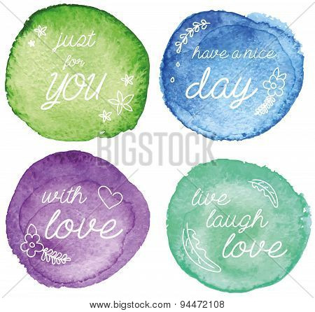The set of four watercolor abstract circles