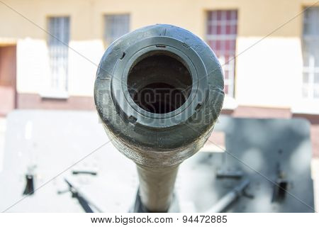Closeup Of A Muzzle Brake - Cannon Barrel