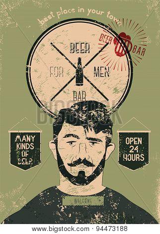 Beer Bar For Men. Vintage grunge style beer bar poster. Vector illustration.