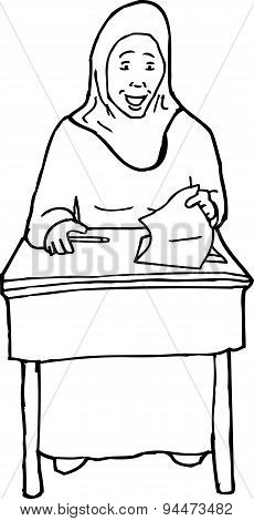 Outline Of Happy Teen At Desk