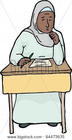 Worried Muslim Student