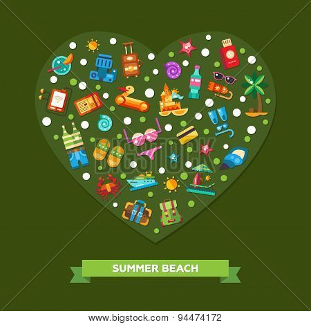 Illustration of heart composition with modern flat design seaside  travel vacation icons and infogra