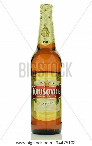 Krusovice premium beer isolated on white background.