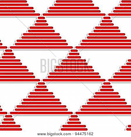 3D White Striped Triangles With Red