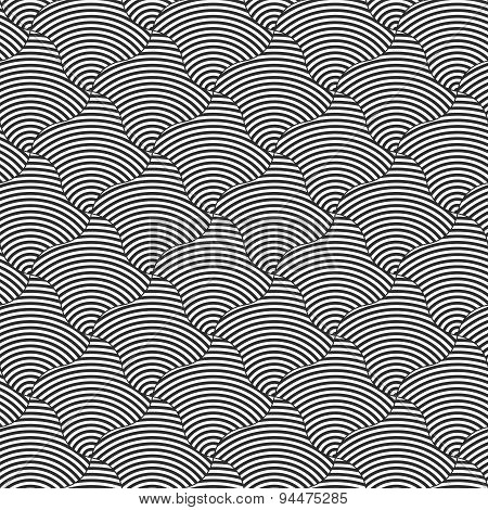 Alternating Black And White Wavy Thin Striped Squares
