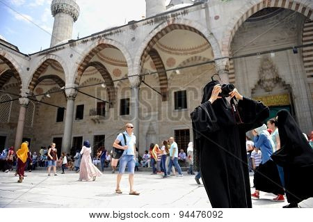 Tourists Visiting The Bluea Mosque