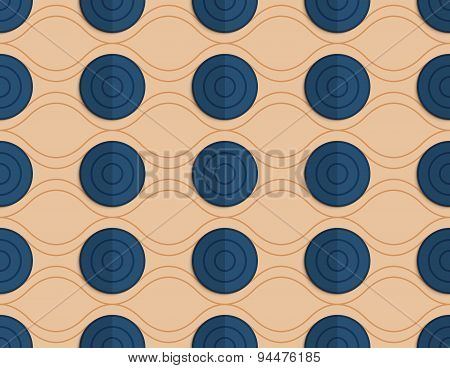 Retro Fold Blue Circles On Waves