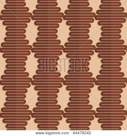 Retro Fold Brown Wavy Hexagons