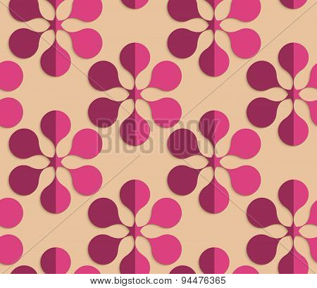 Retro Fold Purple Six Pedal Flowers
