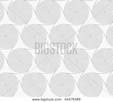 Slim Gray Merging Spirals With Triangles
