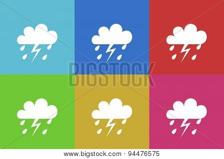 storm vector flat web icons set  original modern design for web and mobile app