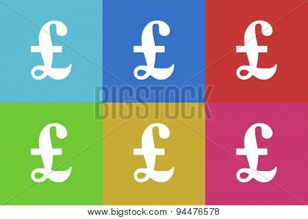 pound vector flat web icons set  original modern design for web and mobile app