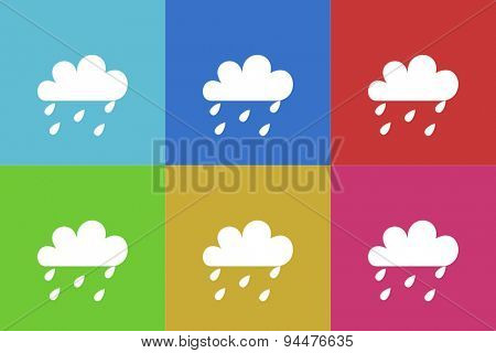 rain vector flat web icons set  original modern design for web and mobile app