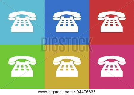 phone vector flat web icons set  original modern design for web and mobile app