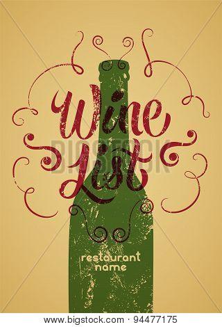Calligraphic retro grunge style wine list design. Vector illustration.