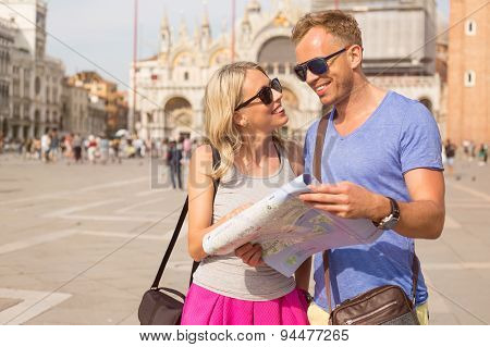Young couple traveling in Venice