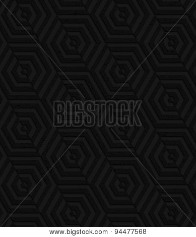 Textured Black Plastic Diagonally Cut Hexagons