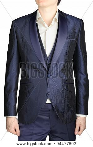 Navy Blue Mens Wedding Dress, Groom Attire, Blazer, Vest.