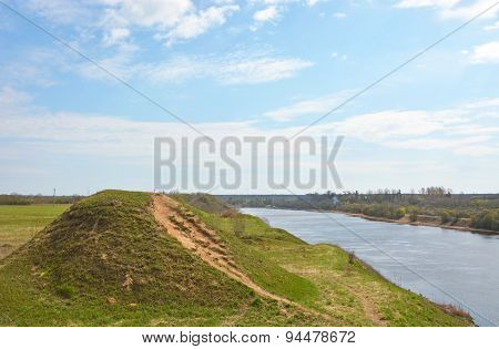 Volkhov River Valley With Burial Mound. Russia, Staraya Ladoga
