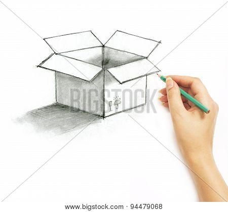 Hand Draws A Pencil Post Box On A White