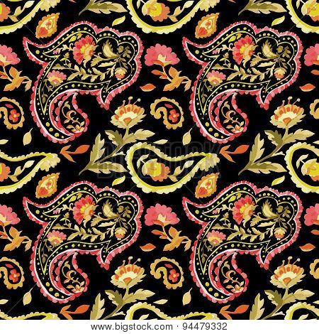 Watercolor paisley seamless pattern.