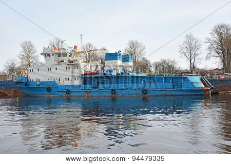 Small Ship On The Neva River At The Shlisselburg City, Russia