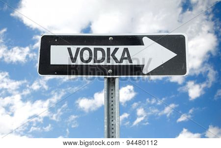 Vodka direction sign with sky background