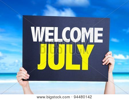 Welcome July card with beach background