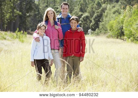 Portrait Of Family On Hike In Beautiful Countryside