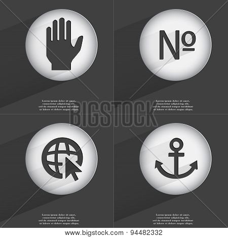 Hand, Number, Web With Cursor, Anchor Icon Sign. Set Of Buttons With A Flat Design. Vector