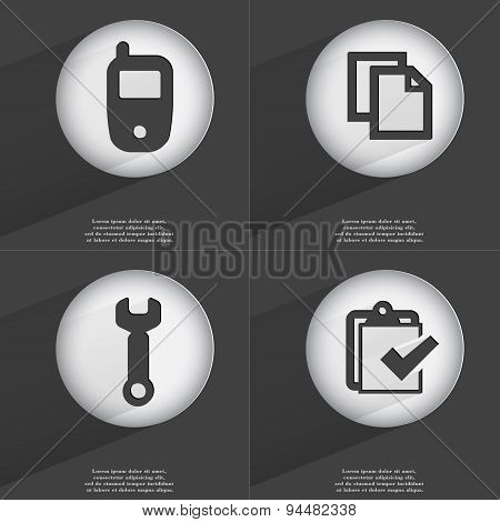 Mobile Phone, Copy, Wrench, Task Completed Icon Sign. Set Of Buttons With A Flat Design. Vector