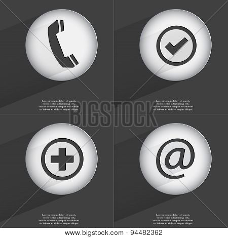 Receiver, Tick, Plus, Mail Icon Sign. Set Of Buttons With A Flat Design. Vector
